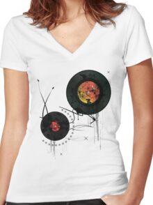 Retro Vinyls  Women's Fitted V-Neck T-Shirt