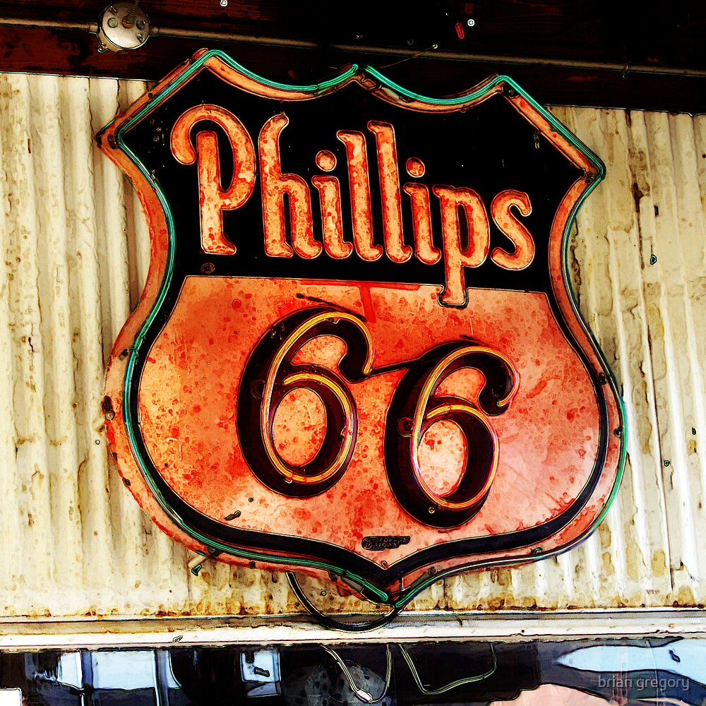 phillips 66 sign, route 66 by brian gregory