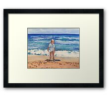 Beach Girl and Her Boggy Board Framed Print