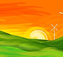 The beauty of windmill in the midst nature's gift by tillydesign