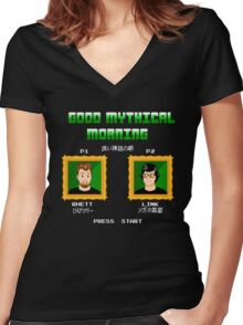 Good Mythical Morning (Famicom-Style) Women's Fitted V-Neck T-Shirt