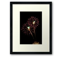 Double Pink and Green Fireworks Framed Print