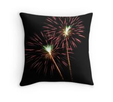 Double Pink and Green Fireworks Throw Pillow