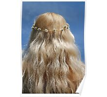 Cute Blonde Girl Hippy Chick Hair and Daisy Chain Poster