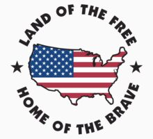 Land of The Free Home of The Brave Kids Tee
