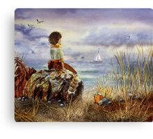 A Girl Sitting On The Rock At The Ocean Canvas Print