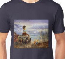 A Girl Sitting On The Rock At The Ocean Unisex T-Shirt