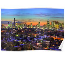 City Jewels at Dusk - Melbourne from South Yarra Poster