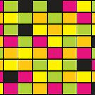 Brightly Neon Colored Squares Pattern by ValeriesGallery