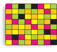 Brightly Neon Colored Squares Pattern Canvas Print