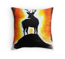 Sunset Stag Throw Pillow