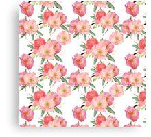 Pretty Pink Garden Flowers Watercolor Canvas Print