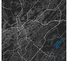 Birmingham city map black colour by mmapprints