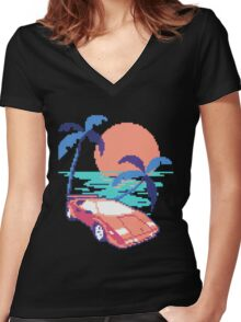 old school gaming Women's Fitted V-Neck T-Shirt