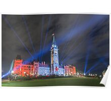 Canada's Parliament Building - Northern Lights show Poster