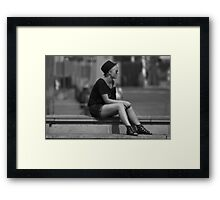 He should have been here by now! (B&W) Framed Print