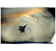 F-22 Raptors-Fighter Jets In A Troublesome Sky Poster