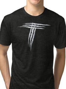 NSL Letter T White Scratch Tri-blend T-Shirt
