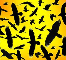Raven In Silhouette-Collage Of Ravens In Flight by Ron Day
