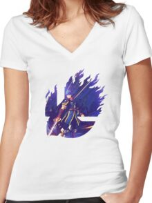 Smash Hype - Marth Women's Fitted V-Neck T-Shirt