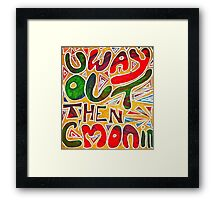 Way Out pen design red green gold Framed Print