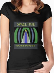 Visit Spacetime - Where Thrilling Adventures Await Women's Fitted Scoop T-Shirt