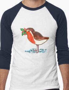 Winter Robin T SHIRT/STICKER/BABY GROW Men's Baseball ¾ T-Shirt