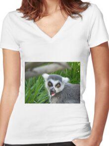 Lemur Attack! Women's Fitted V-Neck T-Shirt