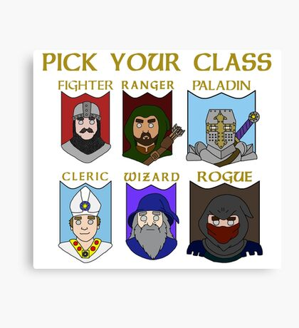 Pick Your Character Class Canvas Print
