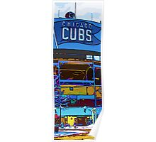 chicago cubs bleachers in winter Poster