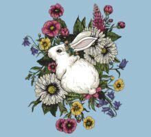 Rabbit in Flowers One Piece - Short Sleeve