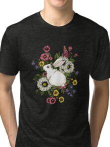 Rabbit in Flowers Tri-blend T-Shirt