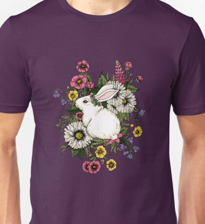 Rabbit in Flowers Unisex T-Shirt