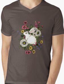 Rabbit in Flowers Mens V-Neck T-Shirt