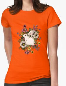 Rabbit in Flowers Womens Fitted T-Shirt