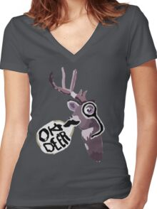 Max's Journal - Oh Deer Women's Fitted V-Neck T-Shirt