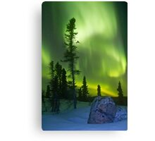 Green curtains over Yellowknife Canvas Print