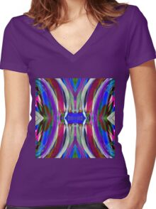 Stroking Plum Flow Watercolor Women's Fitted V-Neck T-Shirt