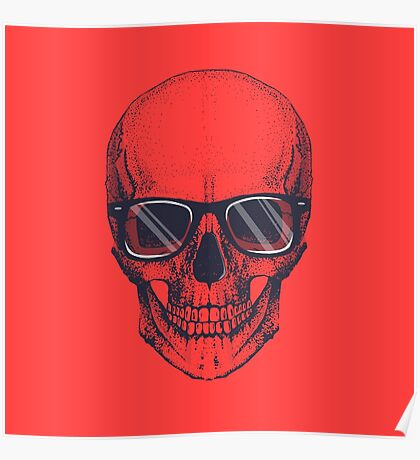 Hipster skull with glasses  Poster