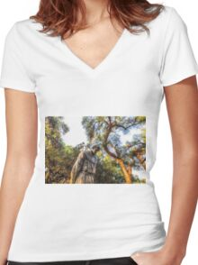CONTEMPLATION Women's Fitted V-Neck T-Shirt