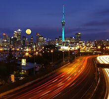Auckland Cityscape with Moon Raise by Peter Mitchell