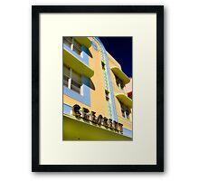 crescent building, south beach, florida Framed Print