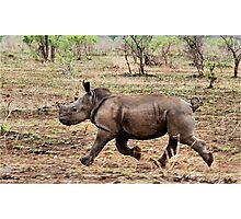 "*WHITE RHINOCEROS* - Ceratotherium simum - YES! I CAN DO IT ! (EVER SEEN A BABY RHINO... ""TAKE OFF"")   Photographic Print"