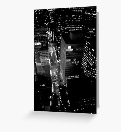 City Lights in B&W Greeting Card