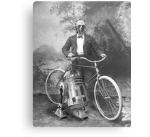 C3PO and R2D2 with Vintage Bike Canvas Print