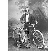 C3PO and R2D2 with Vintage Bike Photographic Print