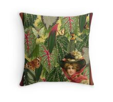 Lady with Green Leaves Throw Pillow