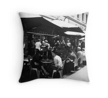 Lunch with friends at Degraves Espresso, Melbourne Throw Pillow