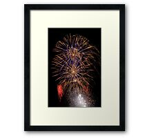 Double Blue and Gold Fireworks Framed Print