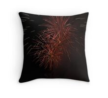 Triple Red Fireworks Throw Pillow